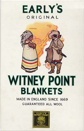 Early's advertising sign showing a point blanket trading between a Native American and an early merchant.