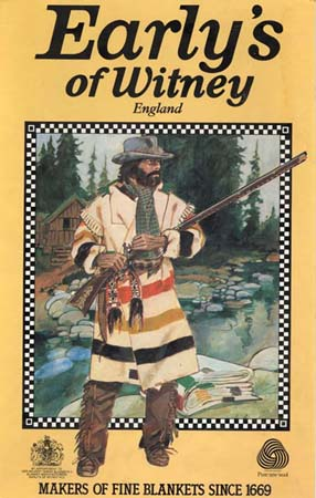 1970s advertising sign from Early's showing a hunter wearing a capote coat made from a point blanket.